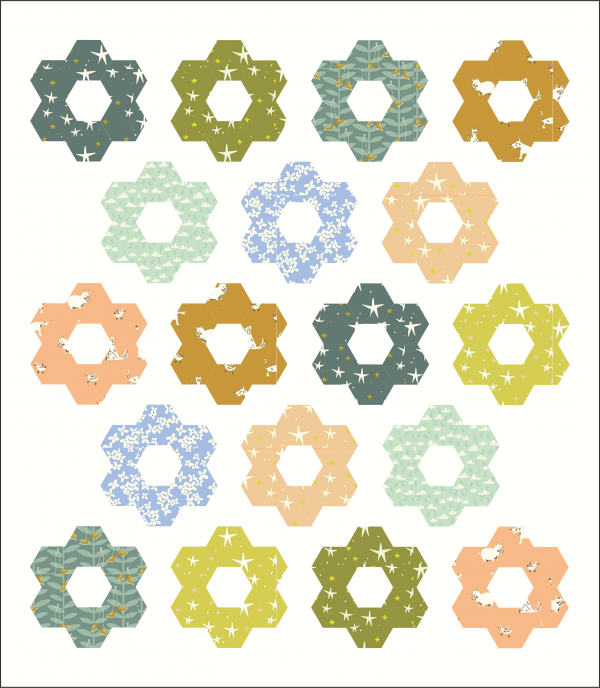 HEXIE BLOOM COTTON AND JOY QUILT KIT